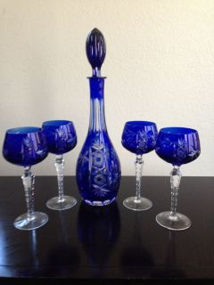 Beautiful Bohemian Czech German Cobalt Blue Crystal Cut Clear Stemware Decanter
