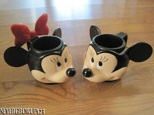 Disney Mickey Minnie Mouse Mugs Cups EUC