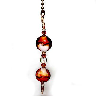 Amber Swirl Glass Beads Decorative Ceiling Fan Light Pull Chain and Lamps