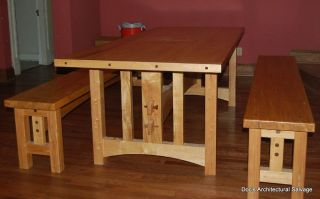 Arts Crafts Maple Wood Table Benches Custom Furniture Dining Room Kitchen