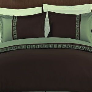 Modern Greek Key Chocolate Brown Sage Green Duvet Cover Bedding Set F Queen King