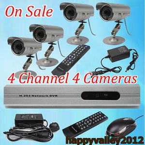 4CH H 264 4 Channel CCTV DVR Motion Detection Security System 4 Outdoor Camera