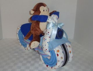 Diaper Cake Motorcycle Baby Shower Gift Monkey Boy