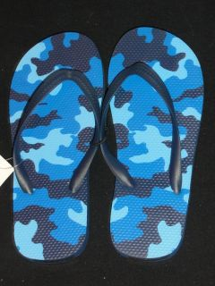 Blue Camoflauge Pattern Camo Boys Thongs Girls Sandals Kids Shoes Flip Flops