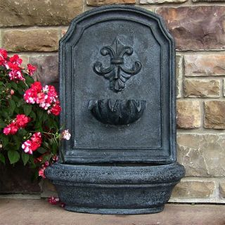 Fleur de Lis Wall Water Fountain Weathered Rustic French Shabby Garden Outdoor