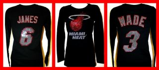 Women's Miami Heat Dwayne Wade or Lebron James Bling Jersey Tank Tee Long Sleeve