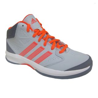 Adidas Isolation Mens Grey Orange Athletic Comfort Hi Top Basketball Shoe