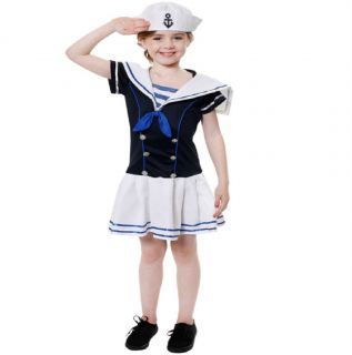 Childrens Sailor Girl Fancy Dress Costume Outfit Kids Girls Party Like Pop Eye