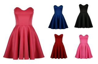 Womens Boobtube Strapless Padded Pleated Bodycon Stretch Skater Skirt Prom Dress