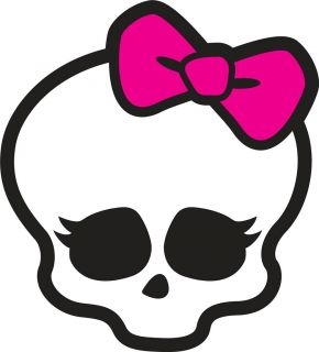 Monster High Skull Logo Skull with Pink Bow Iron on Transfer