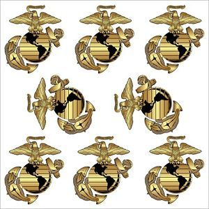 "Marine Corps Eagle Globe and Anchor 'EGA' Eight Pack 1 8"" x 1 5"" Hard Hat Decals"