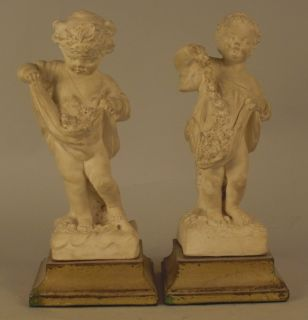 Pair French Italian Style Putti Putto Cherub Statues Figurines Gold Gilt Bases