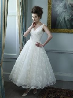 2013 New Lace White Ivory Tea Length Short Puffy Wedding Dress Gown Size 6 22