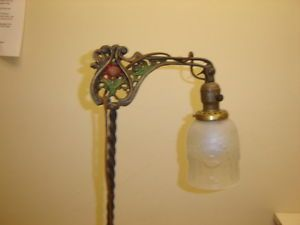 Antique Bridge Floor Lamp with Fired on Colors 55""