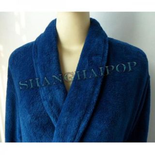 Men Turkish Robe Blue Polar Fleece Bathrobe Dressing Gown Full Length Nightwear