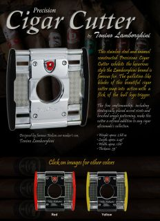 Tonino Lamborghini Precisione Cigar Cutter Black Guillotine Style New