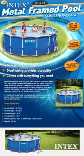 "Intex 15' x 42"" Metal Frame Above Ground Swimming Pool Complete Set"