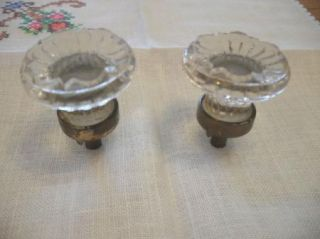 2 Vintage Antique Glass Sandwich Drawer Knobs Cabinet Door Pulls Brass Base