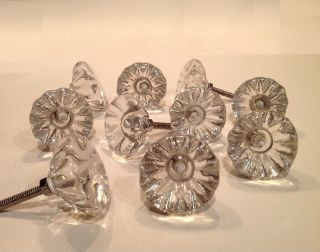 "Antique Vintage Style Clear Glass Cabinet Knobs Pulls 1 1 2"" Seconds Lot of 10"