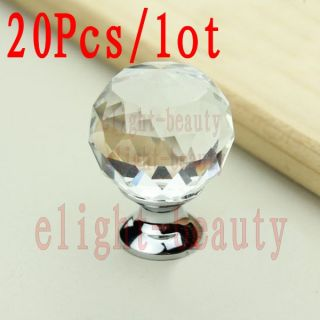 20pcs 32mm Clear Glass Crystal Cabinet Drawer Knobs Cupboard Pulls Door Handles