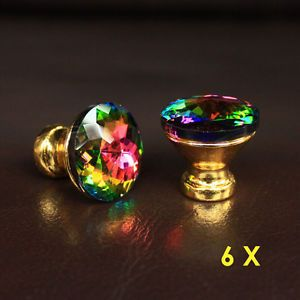 6 Pcs Crystal Glass Drawer Knobs Golden Base Cabinet Handle Pulls Multi Color