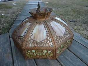 Large Arts Crafts Slag Glass Leaded Hanging Lamp Shade Antique