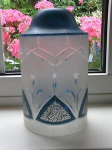 Antique Art Deco Cut Glass Lamp Shade in Clear Frosted Glass with Blue Paint