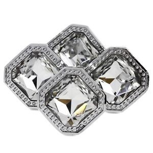 New Home Square Handle Clear Crystal Glass Cabinet Knobs Kirsite 4pcs Set