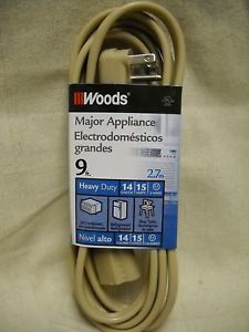 Woods Major Appliance Heavy Duty Cord 0045 9 ft 14 Gauge 15 Amps 3 Wire New