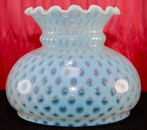 Vintage Fenton Coin Dot Lamp Shade Oil Electric Lamp Blue Iridescent Glass