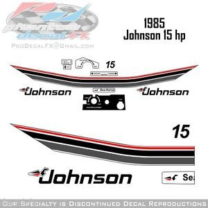1985 Johnson 15 HP Outboard Reproduction 12 Piece Vinyl Decals Fifteen Horse