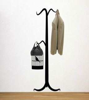 Old Style Coat Hanger with Bird Cage Wall Hooks Decal Super Size Wall Decoration