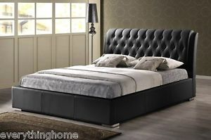 Modern Black Faux Leather Tufted Headboard Queen Platform Bed Wood Frame New