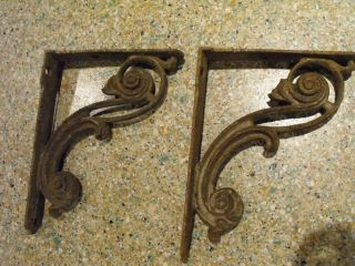 Vintage Antique Cast Iron Shelf Brackets Pair Hardware Art Deco Architectural