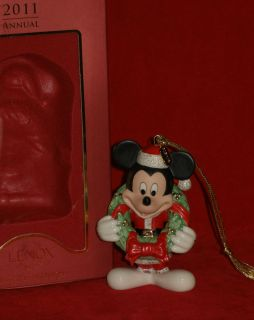 Lenox 2011 Merry Mickey Mouse Wreath Disney Annual Christmas Ornament Decor