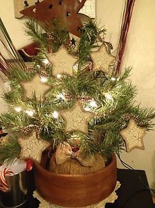 Primitive Country Star Ornaments Crackle Farmhouse Decor Christmas or All Year