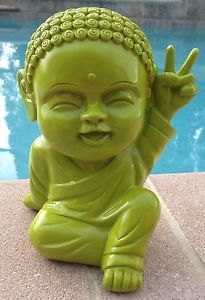 Lime Green Modern Happy Baby Thai Buddha Peace Sign Lucky Home Decor
