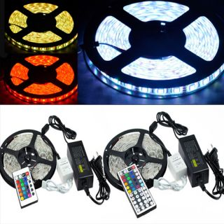 5M Waterproof 5050 RGB SMD LED Strip Light 300LED IP65 24 44Key Remote 5A Power