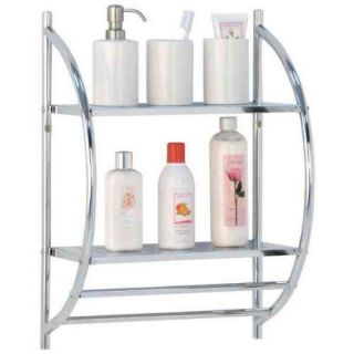 2 Tier Chrome Curved Wall Mounted Bathroom Shower Shelf Towel Rail Rack