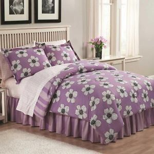 Cute White Floral Flowers Girls Queen Size Cheap Purple Kids Bedroom Bedding Set