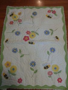 Crib Bedding Set Pottery Barn Kids Flowers Bees Quilt Bumper Sheet Skirt