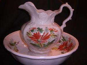 Antique Victorian Royal Ironstone Johnson Bros English Chamber Bowl Pitcher