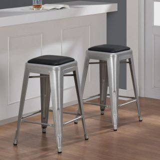 Tabouret 24 inch Padded Metal Counter Stool Set of 2 Bar Kitchen Furniture New