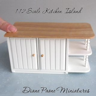 Kitchen Island Cabinet Table Display Shabby Cottage Dollhouse Miniature