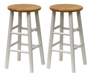 Winsome Wood 24 inch Kitchen Counter Bar Stools Natural White Finish Set of 2