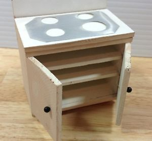 Doll House Furniture Wood Kitchen Stove Top Cabinets Shelves Miniature