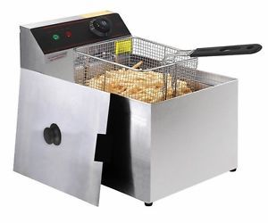Deep Fryer Electric Commercial Unit Tabletop Restaurant Frying w Basket Scoop
