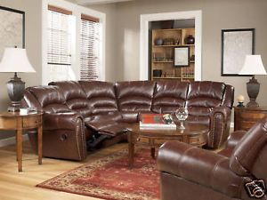 Malaga Rustic Modern Faux Leather Recliner Sofa Couch Sectional Set Living Room