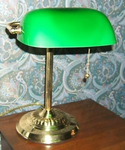 Vintage Style Bankers Desk Lamp Green Glass Shade Brass Base Finish NR