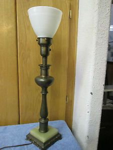 Torchiere Candle Stick Table Lamp Milk Glass Shade Onyx Base Rembrandt Stiffel